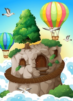 Cave and balloons