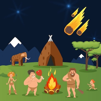 Cave family, asteroid fall at house primeval people group  illustration. men, woman and child near natural hot bonfire