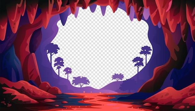 정글 벡터 풍경에 동굴