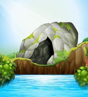 自然の中で洞窟