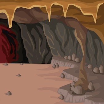 깊은 산에서 동굴 인테리어 배경