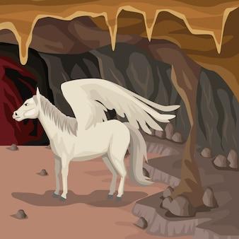 Cave interior background with pegasus greek mythological creature