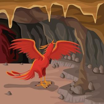 Cave interior background with phoenix greek mythological creature