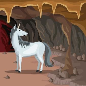 유니콘 그리스 신화 생물과 동굴 인테리어 배경