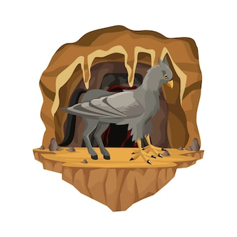 Cave interior scene with hippogriff greek mythological creature