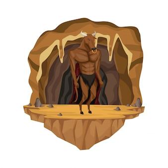 Cave interior scene with minotaur greek mythological creature