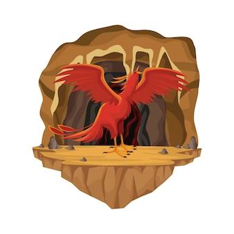 Cave interior scene with phoenix greek mythological creature
