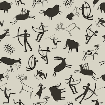 Cave painting background. stone age rock painting seamless pattern with prehistoric animals and ancient hunters, vector cave drawing texture