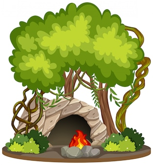 Cave with fire pit nature scene