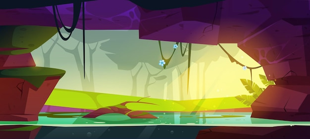 정글 숲에있는 바위에 물이있는 동굴