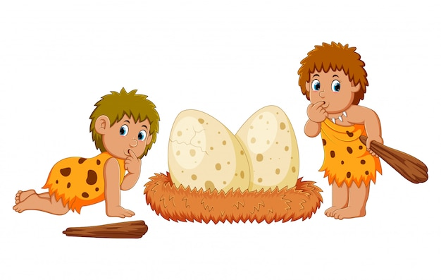 The caveman are standing beside the dinosaur eggs