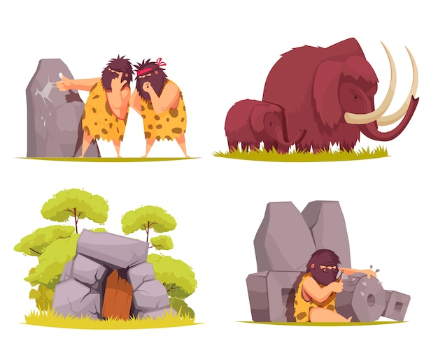 Caveman concept set of primitive men dressed in animal pelt busy with everyday worries cartoon