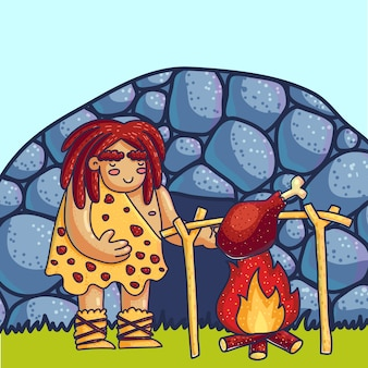 Caveman cooking meat on fire cartoon  illustration. primitive man in stone age flat character. prehistoric composition. ancient, archaic human. hand drawn color neanderthal frying leg near cave