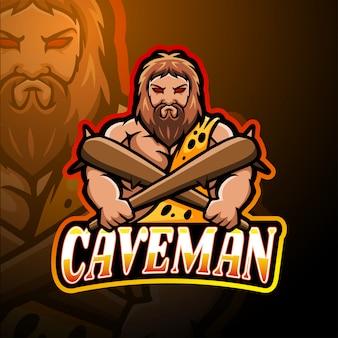 穴居人のeスポーツのロゴのマスコットデザイン
