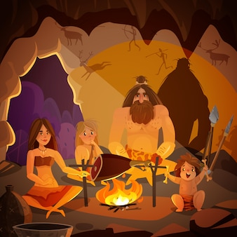 Caveman family cartoon illustration