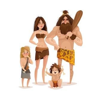 Концепция дизайна семьи пещерный человек