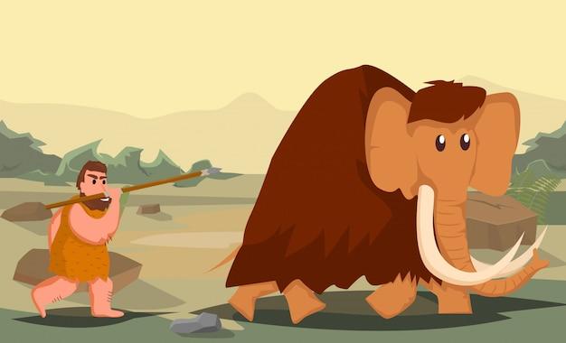 Пещерный человек, охотящийся на мамонта