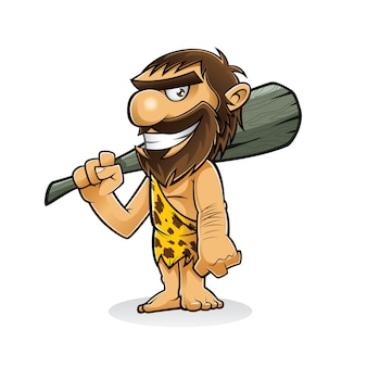 Caveman is standing holding a weapon from the trunk of a tree and smiling
