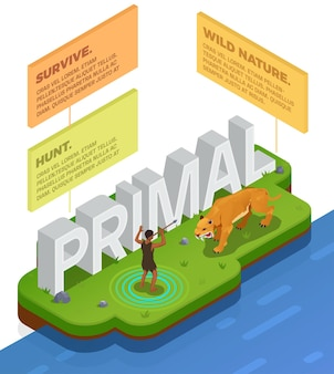 Caveman prehistoric primitive people infographics with scene of human hunting tiger and blocks with editable text