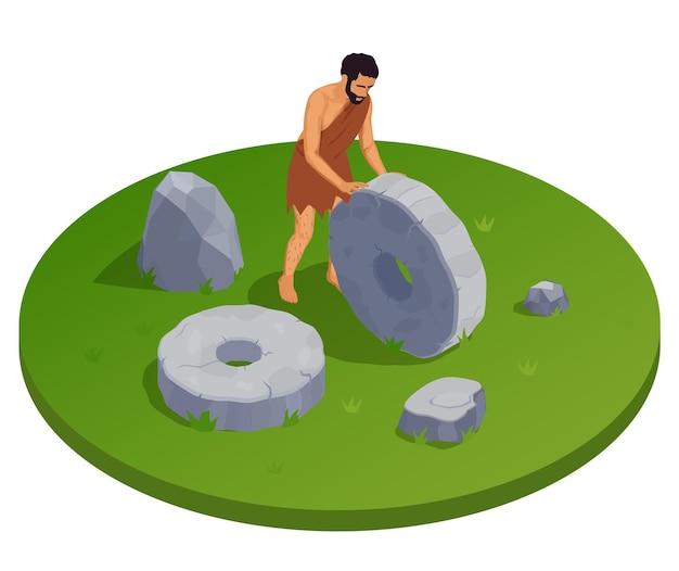Пещерный человек доисторических первобытных людей вокруг изометрической иллюстрации с древним человеком, катящим колесо из камня