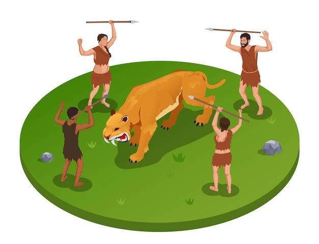 Пещерный человек доисторических первобытных людей вокруг изометрической иллюстрации с группой древних персонажей во время охоты на тигра