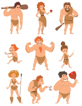 Caveman primitive people cartoon action neanderthal evolution vector.