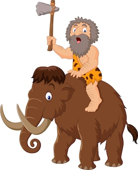 Caveman riding a mammoth