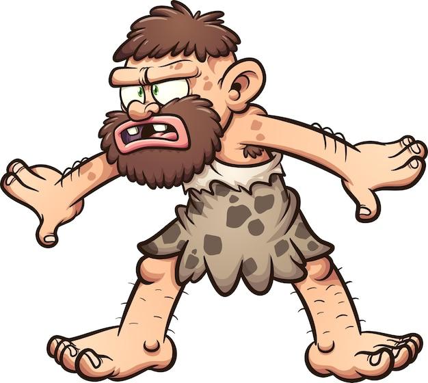 Пещерный человек с растерянным лицом и позой.