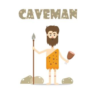 Пещерный человек с изображением пищи и копья Premium векторы