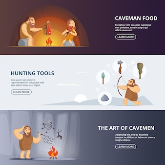 Caveman and woman banner in prehistoric period