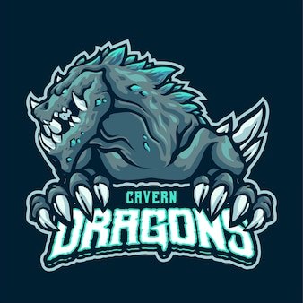 Cavern dragon mascot logo template