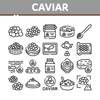 Caviar seafood product collection icons set
