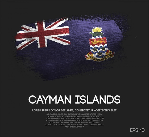 Cayman islands flag made of glitter sparkle brush paint