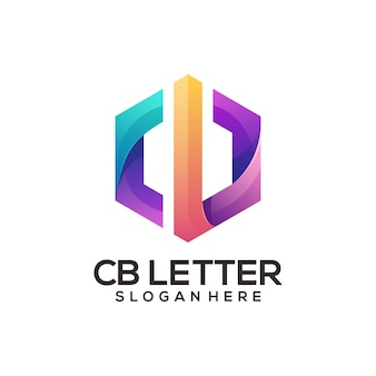 Cb letter logo colorful abstract gradient