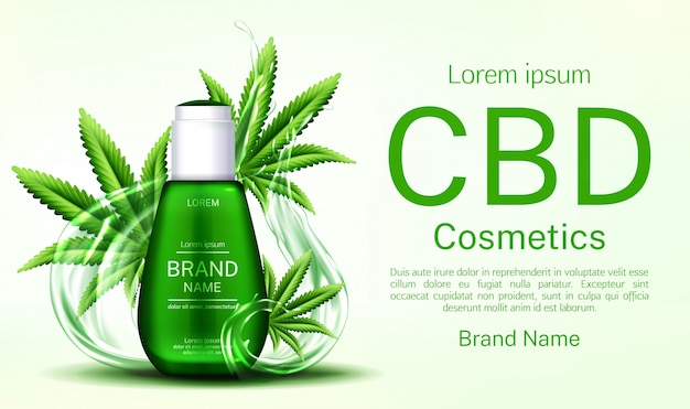 Cbd cosmetics bottle with water splashes and cannabis leaves banner