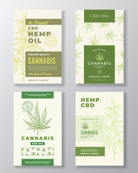Cbd hemp oil abstract labels bundle.