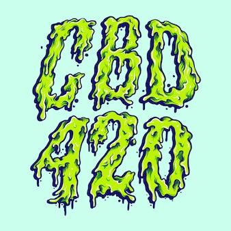 Cbd oil 420 weed melt typeface illustrations