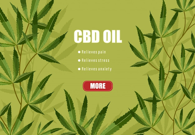 Cbd oil list of benefits on green background. relieves pain, stress and anxiety