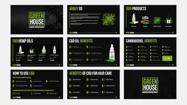 Cbd oil products presentation, black template of catalog with infographic elements.