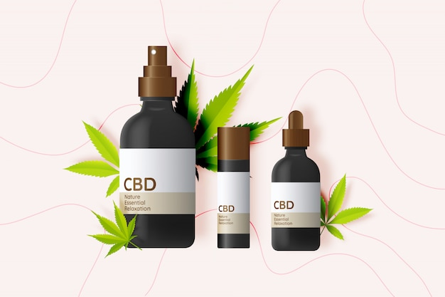 Cbd product with cannabidiol leaves