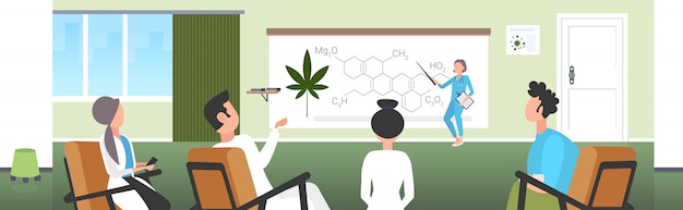 Ученый представляя молекулу наркотика конопли конопли cbd thc для команды докторов на конференции встречая медицинскую концепцию представления формулы марихуаны горизонтальную