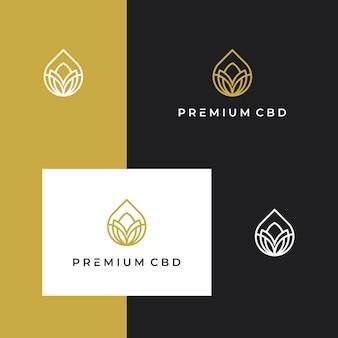 Марихуана, каннабис, cbd, логотип премиум вдохновение с линией