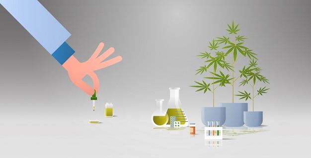 Горизонтальная квартира ученый, тестирующий конопляное масло cbd, извлеченное из аптеки здравоохранения марихуаны
