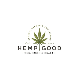 Урожай ретро конопля марихуана конопля логотип cbd