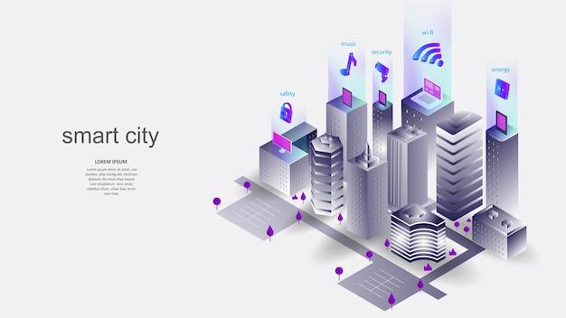 Ç 스마트 시티의 요소로 건축. 과학, 미래, 웹, 네트워크 개념, 통신, 첨단 기술.