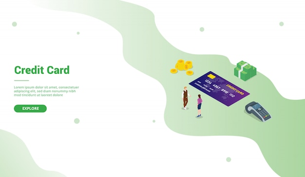 Cc credit card analysis with modern isometric style for website landing homepage template -