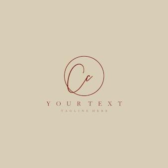 Cc letter logo manual elegant minimalist signature