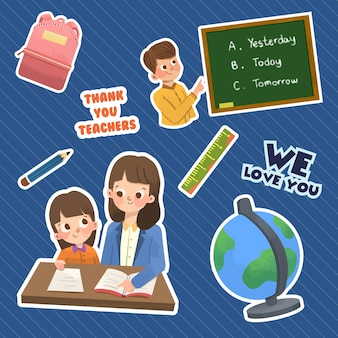 Ccartoon sticker with teacher's day concept design