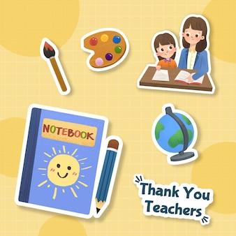 Ccartoon наклейка с концептуальным дизайном дня учителя