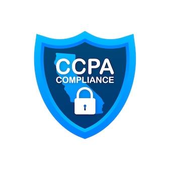 Ccpa, отличный дизайн для любых целей. значок вектора безопасности. информация о веб-сайте. интернет-безопасность. защита данных. векторная иллюстрация.